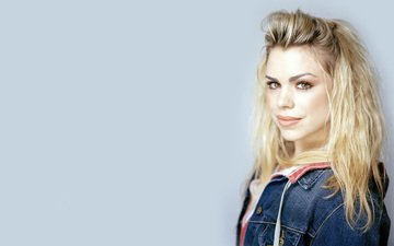 girl, background, blonde, smile, look, hair, face, actress, singer, doctor who, brown eyes, cute, brown-eyed, billie piper, rose tyler, denim jacket, dzhinsovka