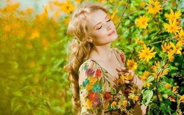 цветы, зелень, девушка, блондинка, ветки, боке, длинноволосая