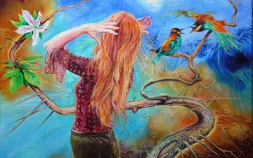 art, figure, branch, leaves, girl, flower, red, birds, canvas, wlodzimierz kuklinski