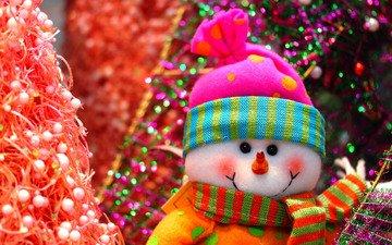 новый год, елка, снеговик, праздники, рождество, мишура, с новым годом, елочная