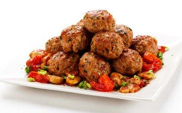 грибы, овощи, мясо, помидоры, помидорами, котлеты, котлетки, тефтели, cutlets, noisettes