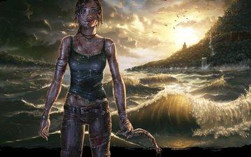 wave, sea, lara croft, tomb raider
