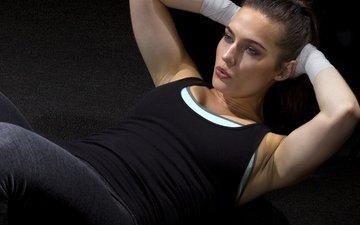 девушка, брюнетка, фитнес, тренировки