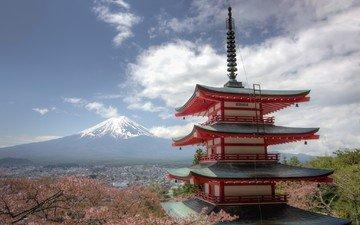 панорама, гора, пагода, япония, сакура, вулкан, фудзи, японии, фудзияма, chureito pagoda, фудзиёсида, гора фудзи