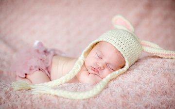 фото, дети, спит, шапка, младенец, подушка