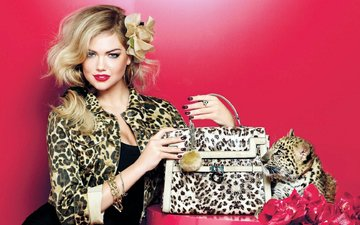 girl, blonde, model, earrings, bag, kate upton, accessories, leopard cub