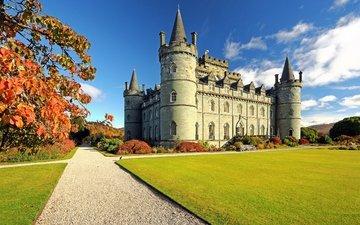 трава, парк, замок, осень, сад, камень, шотландия, лужайка, замок инверари, старинный