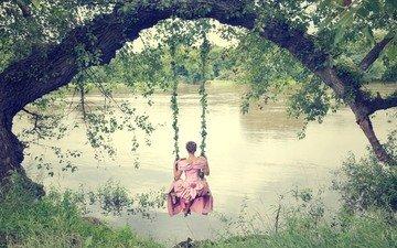 река, природа, девушка, настроение, платье, качели