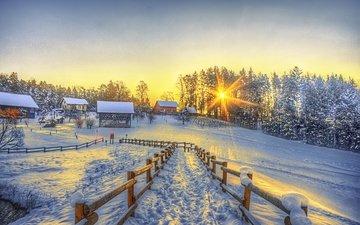 деревья, солнце, снег, зима, деревня, забор, дома, тропа