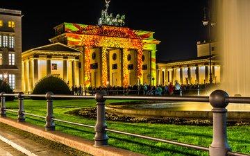 ночь, огни, германия, берлин, световое шоу