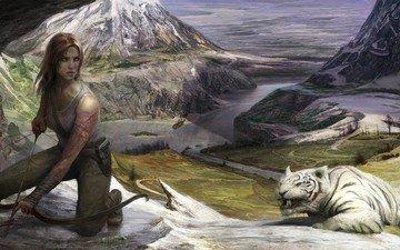 tiger, art, river, mountains, girl, landscape, ship, bow, danger, lara croft