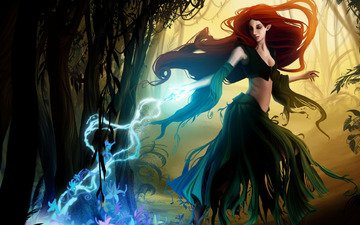 art, girl, magic, witch, fantasy, redheads