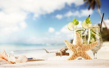 мята, песок, пляж, лето, ракушки, лайм, коктейль, напитки, бутылка, морская звезда