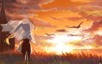 art, sunset, girl, sea, birds, vocaloid, xuehua, hatsune miku