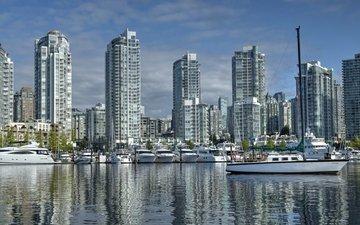 яхты, набережная, ванкувер, здания, канада, порт, катера, британская колумбия, false creek, yaletown
