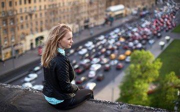 девушка, блондинка, москва, город, крыша, елена, боке