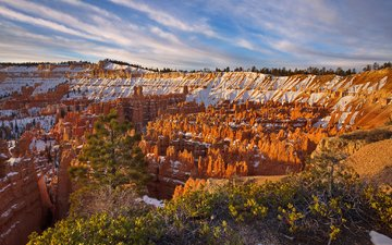 скалы, снег, каньон, сша, ущелье, юта, брайс каньон национальный парк