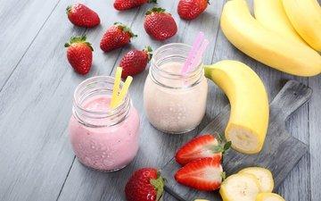 фрукты, клубника, ягоды, коктейль, коктейли, молоко, банан, трубочки
