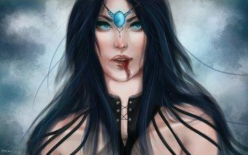 girl, blood, butterfly, hair, face, crystal