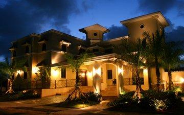 ночь, фонари, огни, дизайн, пальмы, дом, газон, особняк