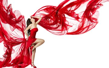 девушка, фон, поза, модель, ткань, каблуки, красное, красное платье, шатенка