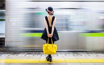 девушка, фон, поезд, шляпа, ожидание, сумка