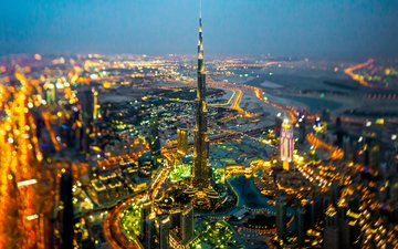 ночь, огни, горизонт, город, улицы, дубай, боке, оаэ, бурдж-халифа, в ночное время, башня халифа