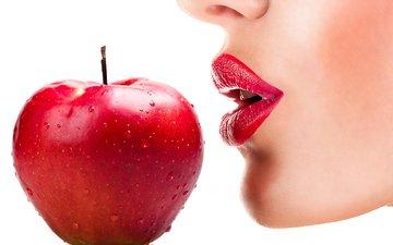 девушка, красные, губы, лицо, белый фон, яблоко, красное