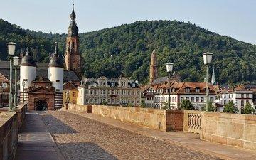 фонари, горы, лес, пейзаж, мост, дома, башни, архитектура, германия, хайдельберг