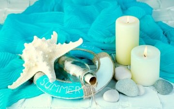 candles, stones, starfish, marine, bottle, summer