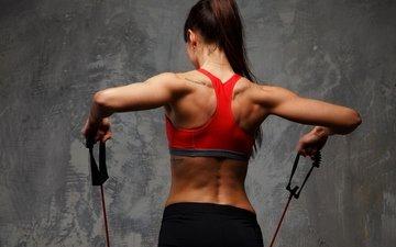 девушка, спорт, шатенка, фитнес, спортивная одежда