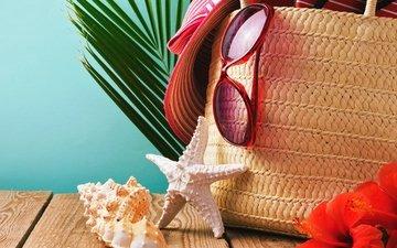 песок, пляж, лето, очки, ракушки, шляпа, морская звезда, песка, seashells, каникулы, летнее, аксессуаров