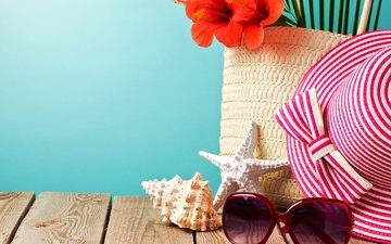 пляж, лето, очки, отдых, вс, шляпа, морская звезда, песка, каникулы, сланцы, летнее, аксессуаров