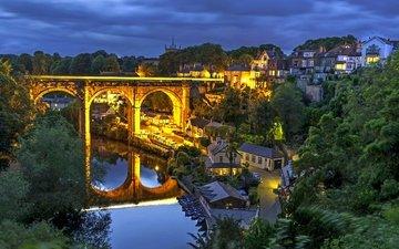 река, отражение, мост, дома, ночной город, англия, здания, виадук, северный йоркшир, нерсборо, харрогейт