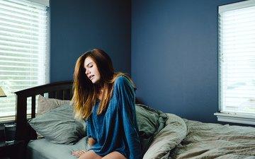 девушка, утро, комната, постель, шатенка