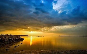 небо, облака, камни, берег, закат, море, горизонт, бунгало