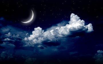 небо, облака, ночь, природа, пейзаж, звезды, луна, неба, moon, ландшафт, на природе, лунный свет, ноч, звезд