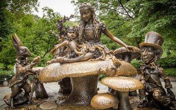 сша, нью-йорк, алиса в стране чудес, скульптура, манхэттен, центральный парк