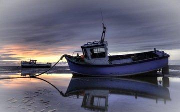закат, пейзаж, море, корабли, лодки