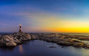 небо, свет, закат, отражение, море, маяк, горизонт