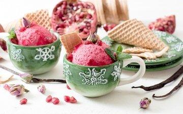 мороженое, сладкое, мороженное, десерт, вафля, гранат, сладенько