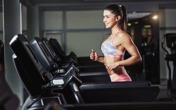 девушка, шатенка, спортивная одежда, тренировки, тренажерный зал