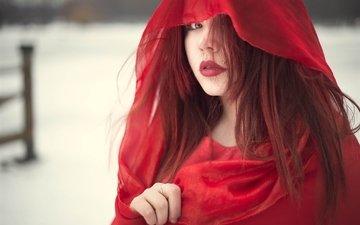 девушка, красная, рыжая, плащ, ткань, лицо, капюшон