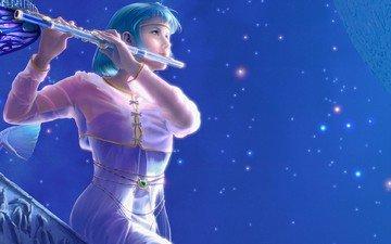 the sky, art, girl, stars, flute, yutaka kagaya, musical instrument, kagaya