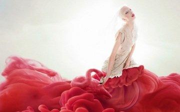 девушка, блондинка, фламинго, дым, креатив, макияж