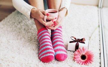 цветок, кофе, ноги, чашка, носки, кубок, гольфах