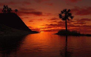 озеро, закат, пейзаж, пальма, 3д
