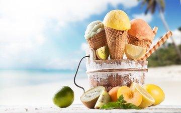 пляж, мороженое, фрукты, рожок, сладкое, мороженное, десерт, тропическая, fruits, сладенько
