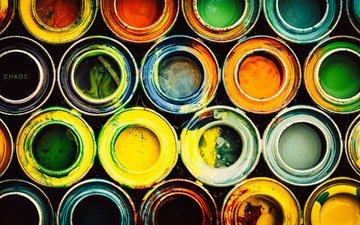 цвета, узор, краски, краска, пятна, круги, хаос, банки, пятно, красители