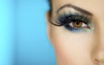 eyes, makeup, woman, eyelash extensions